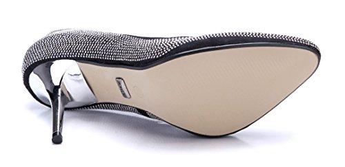 Schuhtempel24 Damen Schuhe Klassische Pumps Stiletto Ziersteine 8 cm Schwarz