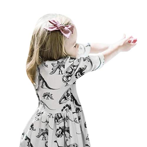 Baby Girls Dresses, Cartoon Dinosaur Print Sun Dress Toddler Kids Baby Girls Clothes Outfits (White, 130) ()