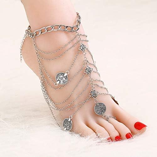 TTO Anklets Vintage Antique Silver Retro Coin Anklets for Women Yoga Ankle Bracelet Sandals Brides Shoes Barefoot Beach Gifts Summer 1 PCs