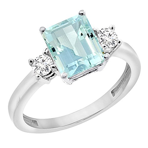 Gold Vibrant Octagon Gemstone - 14K White Gold Natural Aquamarine Ring Octagon 8x6 mm with Diamond Accents, size 7