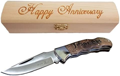Brass Honcho for Men Personalized Pocket Knife Custom Engraved Handle and Gift Box