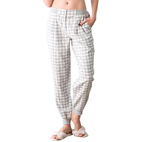 Zhuhaitf Alta calidad Adult Womens Comfortable Lattice Printing Cotton Casual Pajama Pants Gray