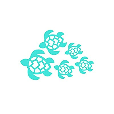 Turtle Family Decal, Turtles Swimming Decal | Car, Truck, Wall, Laptop, Windows, SUV | 7 X 4.8 in | Light Blue | KCD221LBL: Automotive