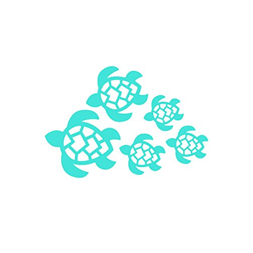 Window Decals Turtle (Turtle Family Decal, Turtles Swimming Decal | Car, Truck, Wall, Laptop, Windows, SUV | 7 X 4.8 In | Light Blue | KCD221LBL)