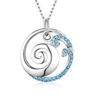 925 Sterling Silver Ocean Wave Pendant Necklace