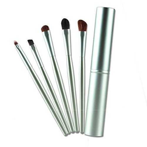 5pcs Make Up Sets Eyeshadow Eyeliner Makeup Brushes with Metal Holder (Silver) by Broadfashion