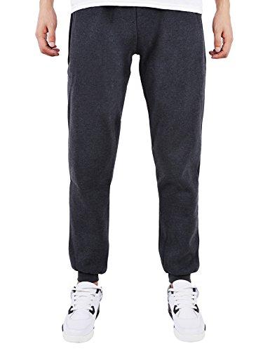 Men's Fleece Heathered Gym Drawstring Sweatpants (Deep_grey,medium)