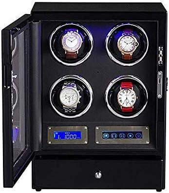 4ワインダーLCDデジタルディスプレイLED照明ウォッチボックス5回転モードの引き出し付きのウォッチワインダー、グッドギフト