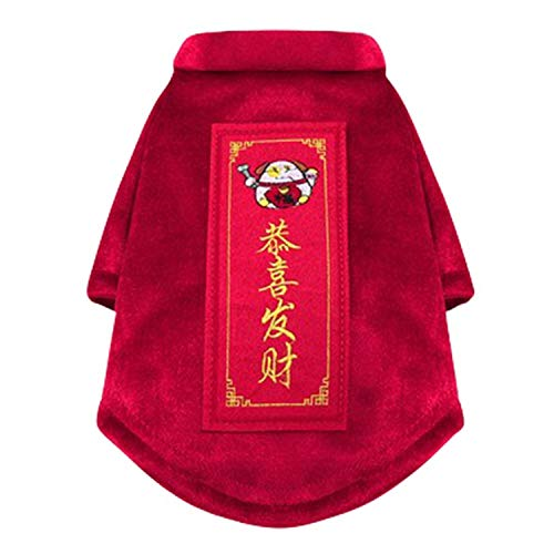 Winter Pet Dog Clothes Chinese New Year Dog Costume for Dogs Tang Suit Cheongsam Dogs Pets Clothing Large ()
