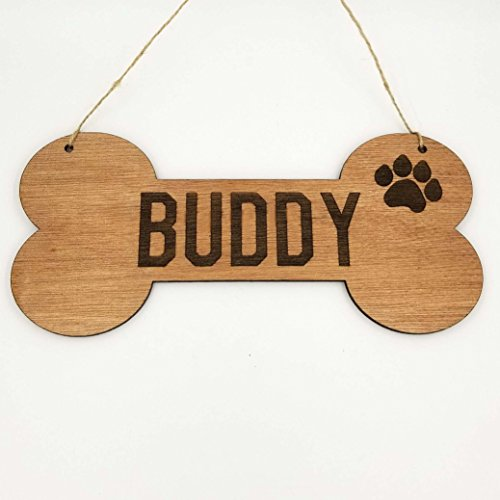 Personalized Dog Bone Dog House Wooden Sign Decor Custom Name with Paw (Personalized Dog Signs)