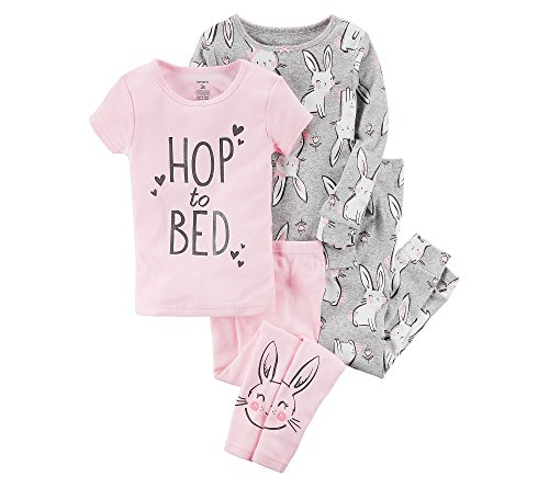Carter's Girls' 4-Pc. Bunnies Snug Fit Cotton Pajama Set 12 ()