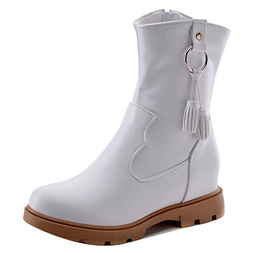 COOLCEPT Femmes Mode Botines Lateral Fermeture Eclair White PWtrb