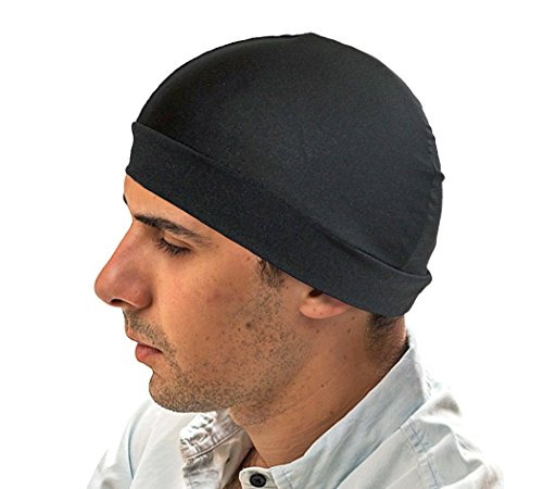 (Black Dome hat - Spandex Wave Builder Du-rag Cap)