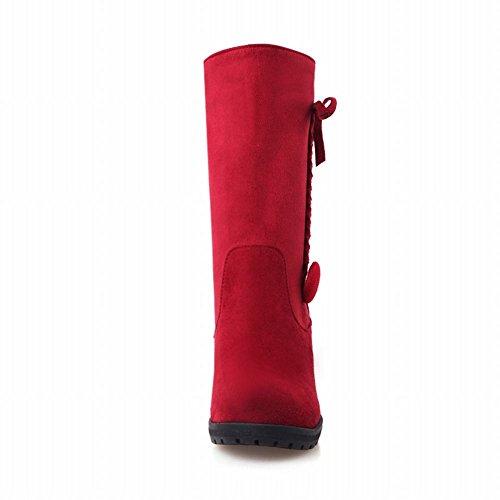 Latasa Womens Carino Nubuck Trecce Pizzo Zeppa Piattaforma Stivali A Metà Polpaccio Rosso
