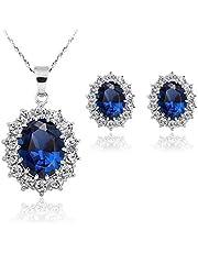 طقم مجوهرات مطلي بلاتينيوم ومرصع بكريستال ازرق، مكون من سلسال واقراط، للزفاف والخطوبة