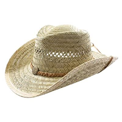 100% Natural Rush Straw Western Cowboy Hat With Band And Medallion