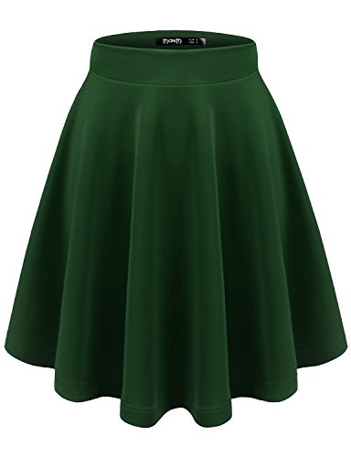 TWINTH Womens Versatile Stretchy Pleated Flare Skater Skirt Forestgreen (Navy Wool Skirt)