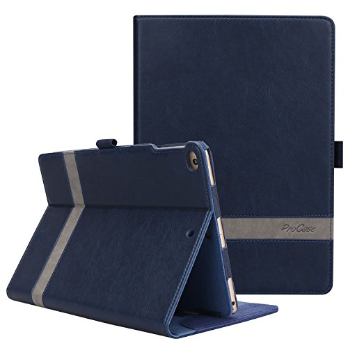 ProCase iPad 9.7 2018/2017, iPad Air 2, iPad Air Case - Leather Stand Folio Cover Case with Multi-Angle Viewing for Apple iPad 9.7 inch, Also Fit iPad Air 2 / iPad Air -Navy