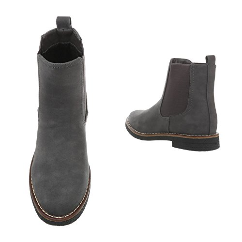 Ital-Design Chelsea Boots Damenschuhe Blockabsatz Stiefeletten Grau A-191