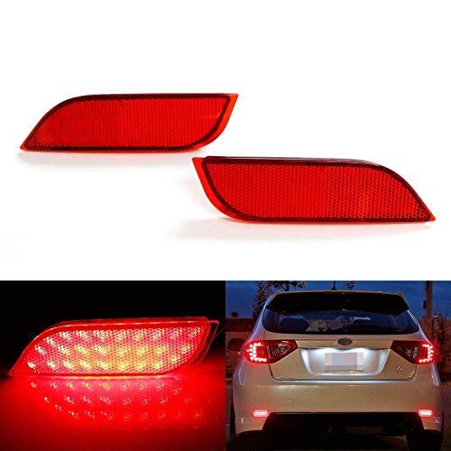 iJDMTOY Red Lens 26-SMD LED Bumper Reflector Lights for Subaru 2008-14 WRX/STI, 08-up Impreza, 13-up XV Crosstrek, Function as Rear Fog, Tail/Brake Lamps