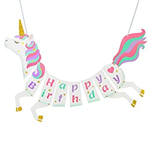 Unicorn Happy Birthday Banner – Unicorn Party Supplies Decorations – PREMIUM Unicorn Birthday Party Magical Pastel Design with Sparkle Gold Glitter! NEW for 2019, Cute, Glossy, and Pre-assembled