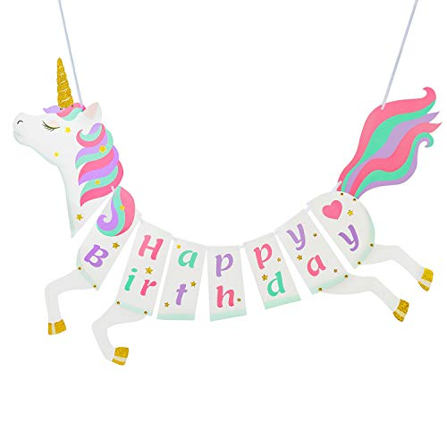Unicorn Happy Birthday Banner - Unicorn Party Supplies Decorations - PREMIUM Unicorn Birthday Party Magical Pastel Design with Sparkle Gold Glitter! NEW for 2019, Cute, Glossy, and Pre-assembled -