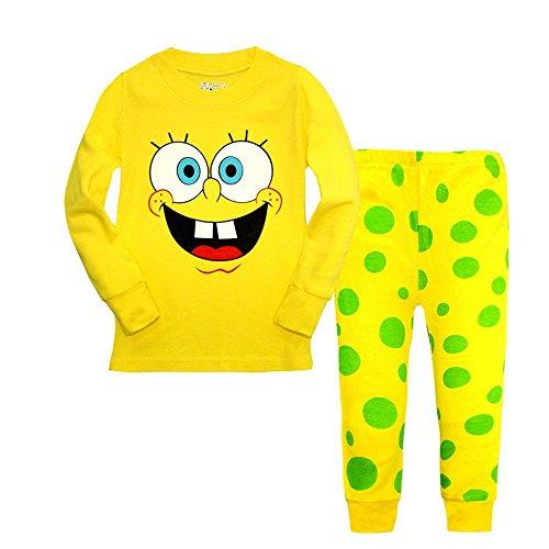 Spongebob Pajamas For Kids (Meteora Boys Dinosaur Pajamas 2 Piece Set Long Sleeve Sleepwear 100% Cotton 2-7T (Spongebob,)
