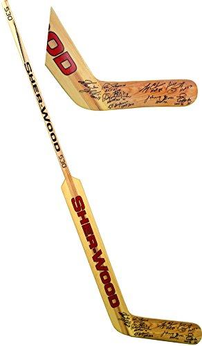 Hockey Signature Hockey Stick - Hall of Fame Goalies Autographed Sher-wood Vintage Goalie Stick with Ten Signatures and Multiple Hall Of Fame Inscriptions - Fanatics Authentic Certified