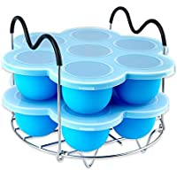 Silicone Egg Bites Molds for Instant Pot Accessories,Including Steamer Rack Trivet with Heat Resistant Handles.Versatile Egg Poachers Set for 6qt & 8qt Electric Pressure Cooker 2 PACK - Blue
