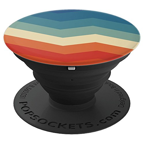 Retro color 80s vintage zigzag pattern - PopSockets Grip and Stand for Phones and Tablets ()