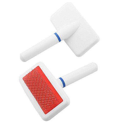 DealMux cabo de plstico Metal Wire Grooming escova de cabelo pente 2pcs Branco para Puppy Dog Pet