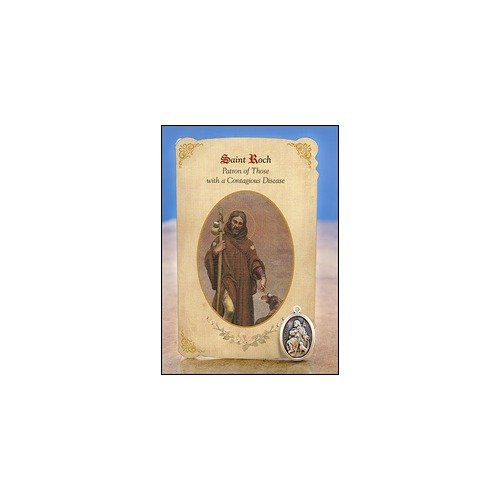 St Roch Healing Holy Card with Medal from Milagros