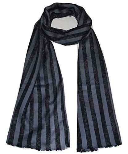 Pure Cashmere Scarf,Stripes,Checks,Super Soft,Light,Breathable,Airy Pashmina Scarf. (Steel Grey & Black). X2617