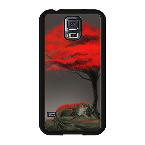 Samsung Galaxy S5 I9600 3D Phone Case The Wolf Sleeping Under A Red Tree Pattern Cell Cover for Samsung Galaxy S5 I9600 Brilliant Mobile Shell