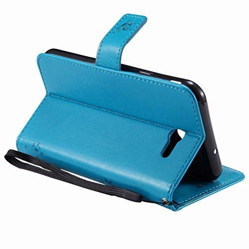 Yiizy Samsung Galaxy J7 (2017) Custodia Cover, Alberi Disegno Design Premium PU Leather Slim Flip Wallet Cover Bumper Protective Shell Pouch with Media Kickstand Card Slots (Blu)