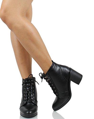 Ville Classée Femmes Amande Orteil Lacets Combat Talon Chunky Militaire Cheville Boot (8 B (m) Nous)