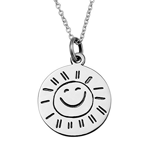 VADOO-925 silver 2 Sides You Are My Sunshine Smile Face Antique Pendant necklace 18¡±