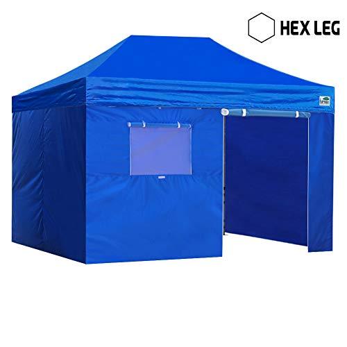 Eurmax Premium 10x15 Pop up Canopy W/4 Walls +Roller Bag (Blue)