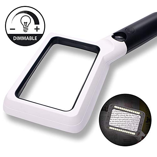 Hand Held Reading Magnifying Glass with Light, 2X 20X Large Magnifier Rectangular Magnifying Lens for Seniors Low Vision Hobbyists