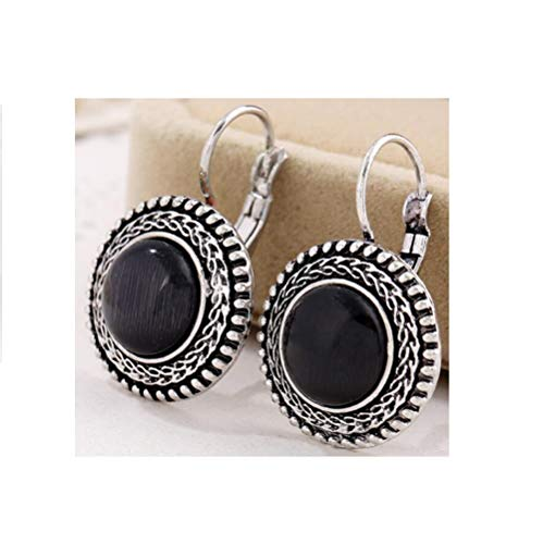 Boho Big Drop Earrings For Women Jewelry Brinco Carved Vintage Tibetan Silver Bohemian Long Earrings - Black