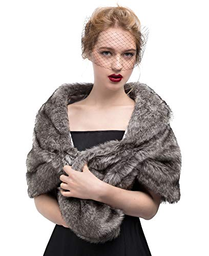 Faux Fur Shawl Wrap Stole Shrug Winter Bridal Wedding Cover Up S34 Gray
