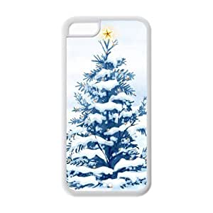 Merry Christmas - Christmas Tree With Star & Snowflake Image Snap On Hard Plastic Iphone 5C Case