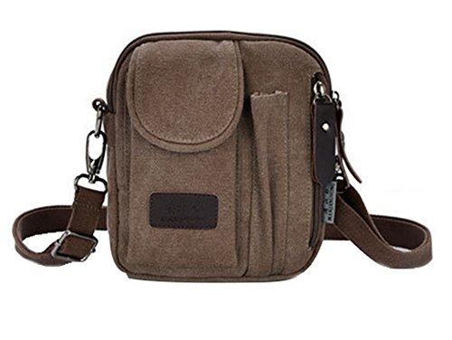 Genda 2Archer Lienzo Crossbody del Hombro Bolso del Mensajero Handbag (Caqui) café