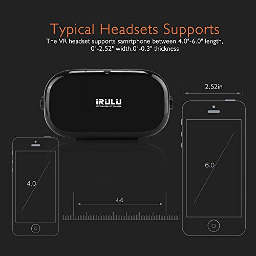 iRULU 3D Virtual Reality VR Glasses VR Headset with Controller for Movies Games Compatible with Android iOS and 4.0-6.0 inches Smartphones Black by iRULU (Image #7)
