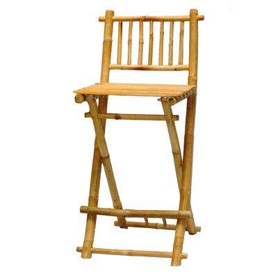 Bamboo Exotic Folding Bar Stool W Footrest   Set Of 2