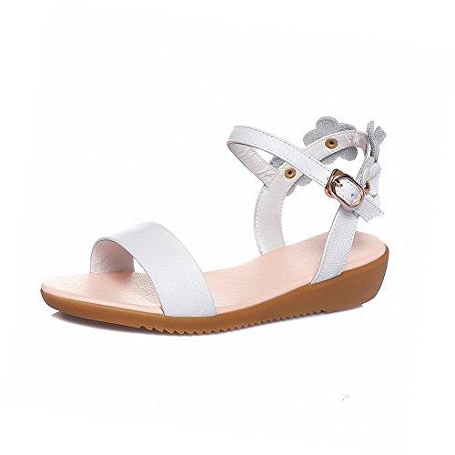 AllhqFashion Women's Cow Buckle Open Toe Low-Heels Cow Women's Leather Solid Sandals B01FNNN9VA Parent 71d2b5