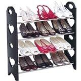 Zapatera Organizador De Zapatos armable con tubos de acero, compacto y practico 4 Niveles Para 12 Pares con altura ajustable para cada nivel