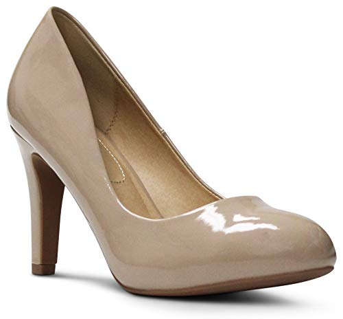 AFFORDABLE FOOTWEAR Women's Almond Toe High Heels Memory Foam Cushion Dress Shoes Comfort Pumps - (Dark Beige Patent) - 5.5