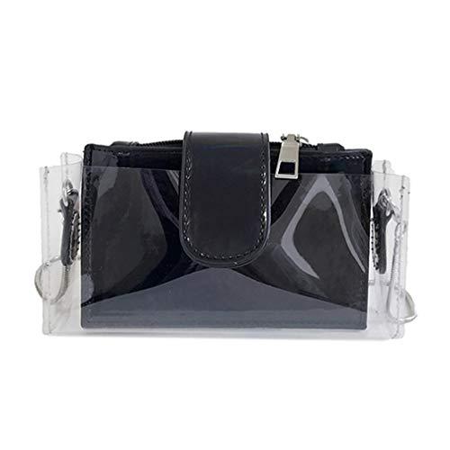 Cadena Transparente para Mujeres Hombro Black de Las del PVC de Bolso Black Bolsos Transparente Cruzados 7S11P