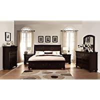 Roundhill Furniture B088QDMN2C Brishland Rustic Cherry Queen Bed, Dresser, Mirror, 2 Nightstands, Chest Storage Bedroom set